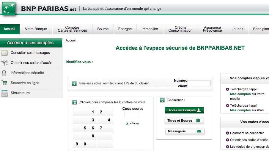 Konto w banku francuskim - strona logowania do bankowości elektronicznej