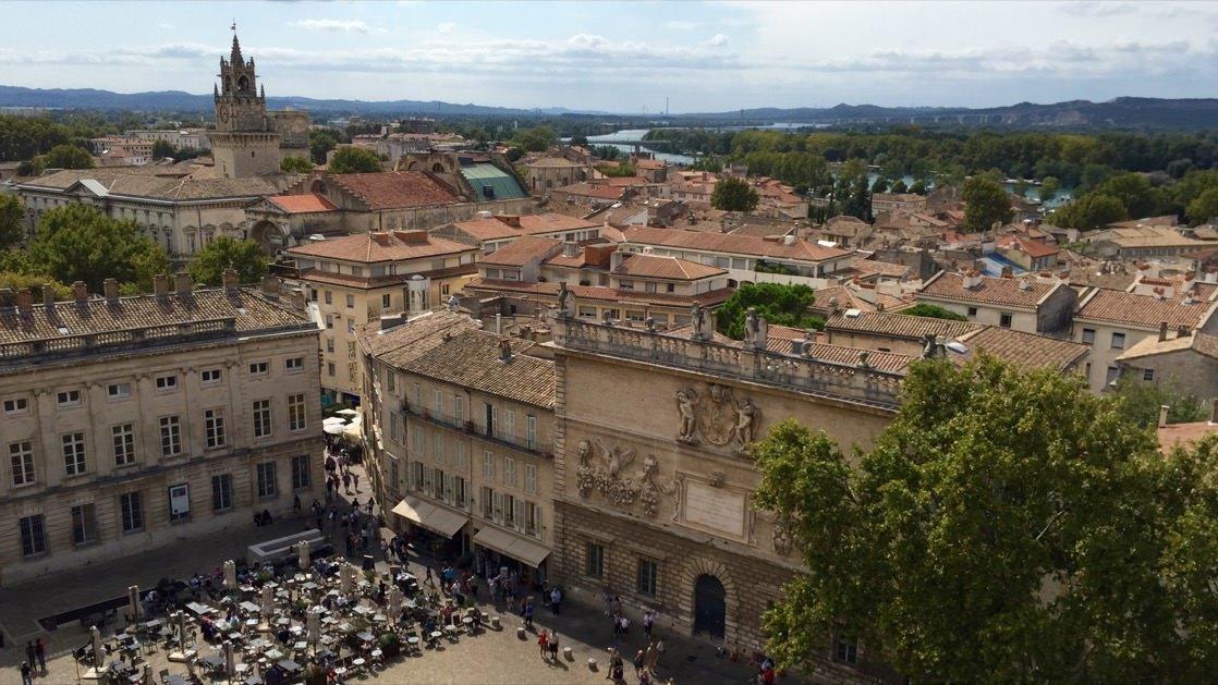 Panorama Awinion (Avignon) z wieży Pałacu Papieskiego