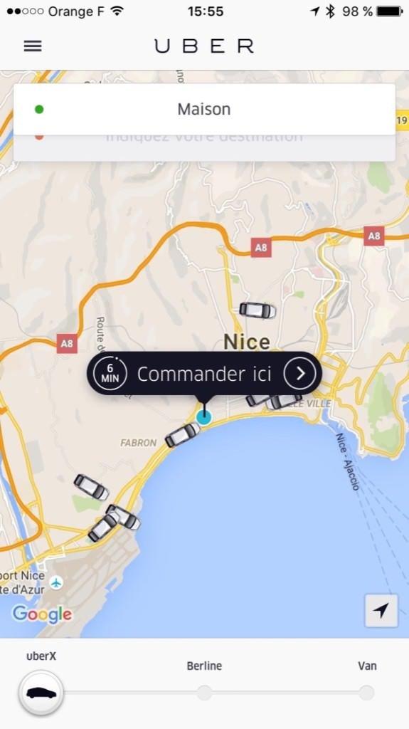 Dostępne samochody Uber w okolicy widać na żywo w aplikacji