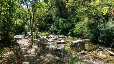 Rzeka Loup. Po lewej trasa wędrowna jej korytem.
