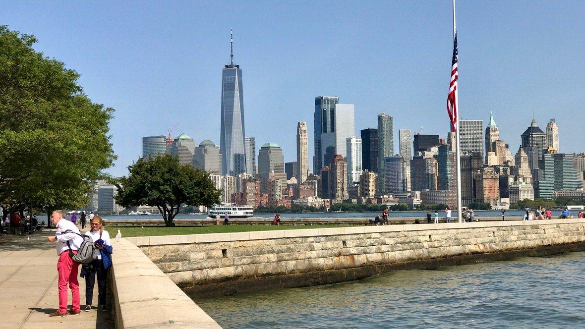 Panorama Manhattanu z Ellis Island, Nowy Jork