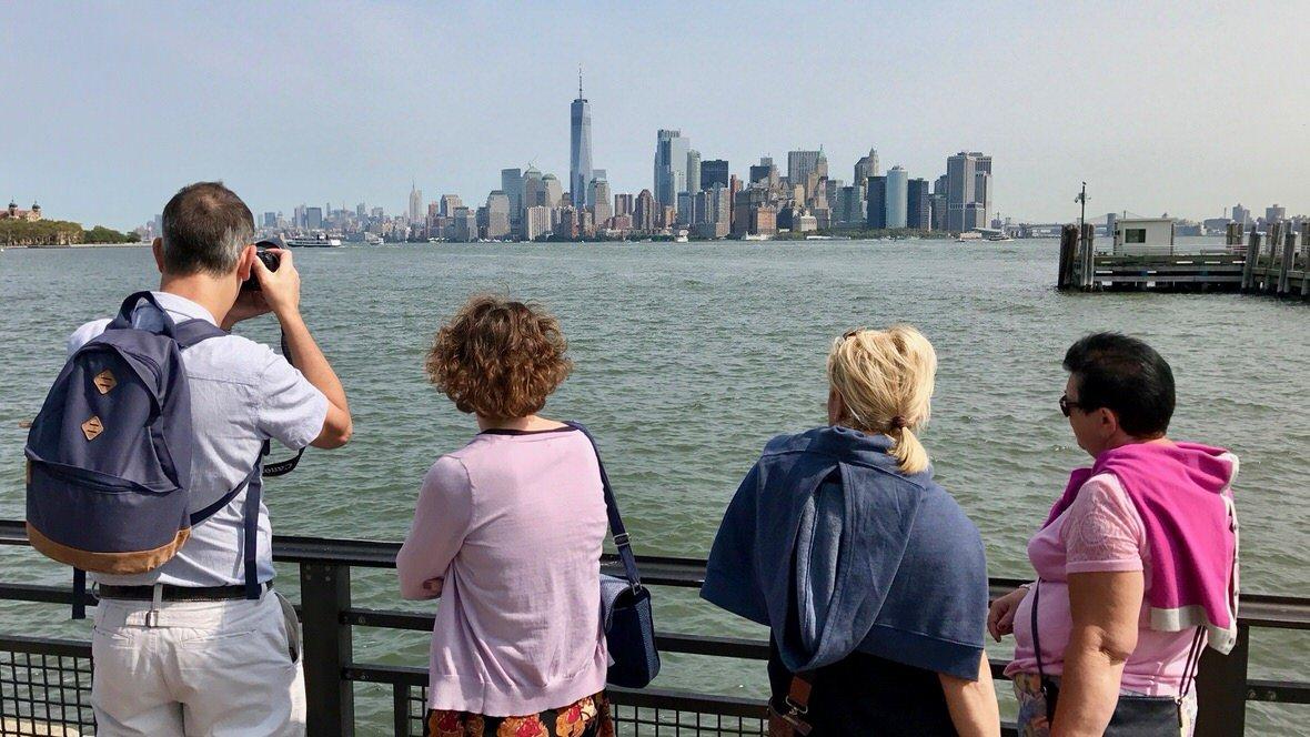 Panorama Manhattanu z Liberty Island