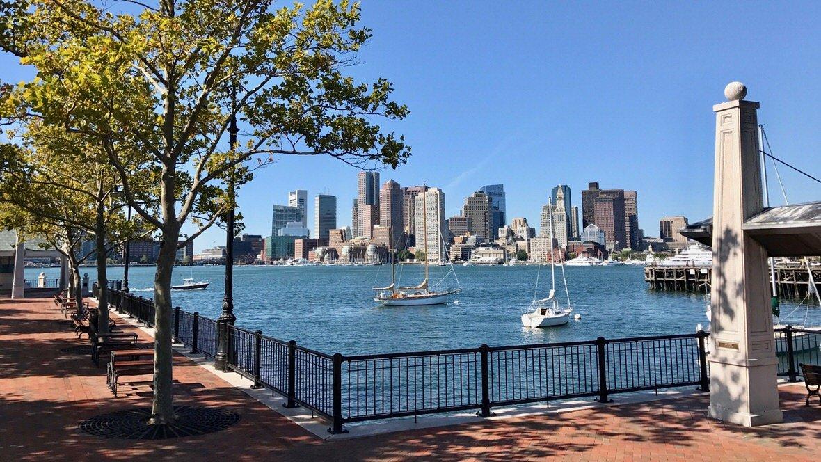 Panorama Bostonu z Piers Park