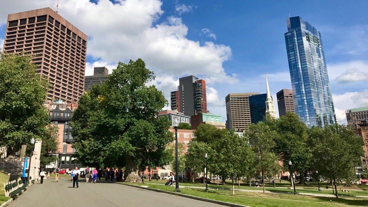 Widok z parku Boston Common