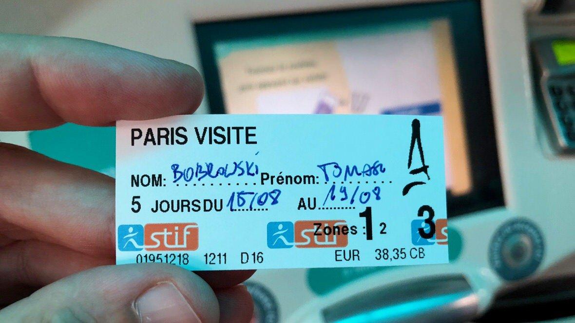 Bilet Paris Visite na 3 strefy obowiązujący 5 dni