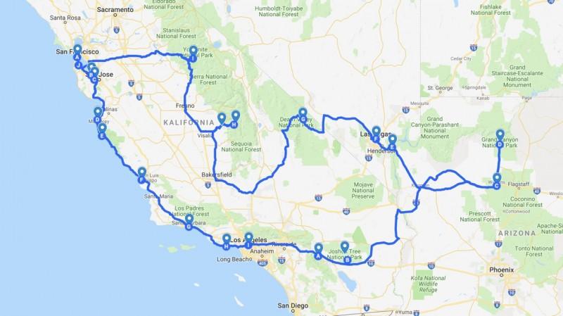 Zwiedzanie Kalifornii i sąsiednich stanów: mapa trasy zwiedzania. Zachodnie Wybrzeże USA. Grafika: Mapy Google.