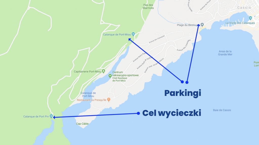 Wędrówka do Calanque Port Pin. Mapa: Google