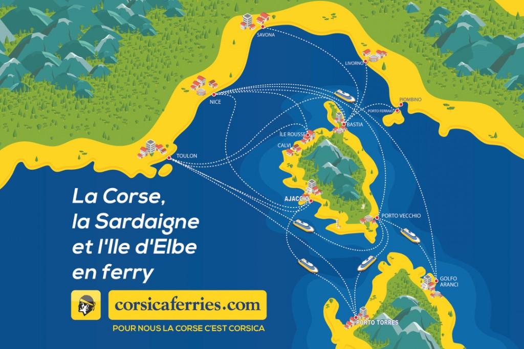 Mapa połączeń promowych na Korsykę i Sardynię firmy Corsica Ferries. Źródło: Corsica Ferries